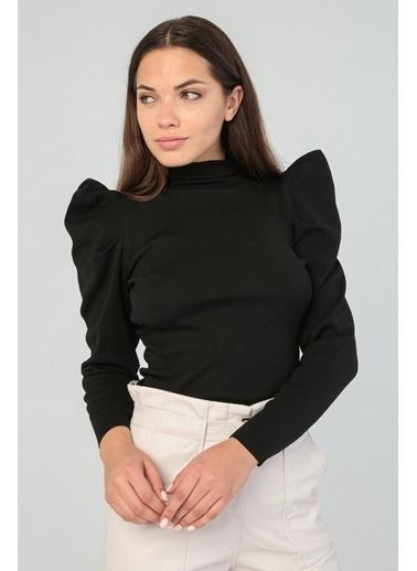 Modaset Modaset 20K5274K1084 Karpuz Ve Büzgülü Kol Slim Bluz Siyah